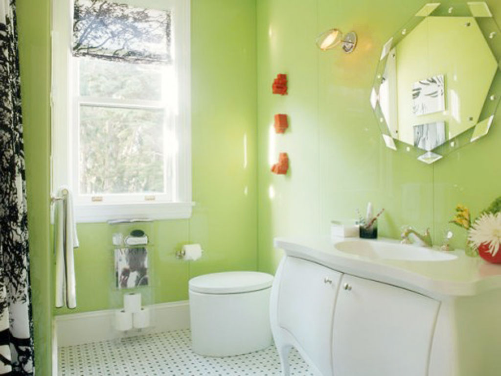 Choosing Colors For Small Bathrooms: Bright Green Bathroom Small Bathrooms  Color Idea