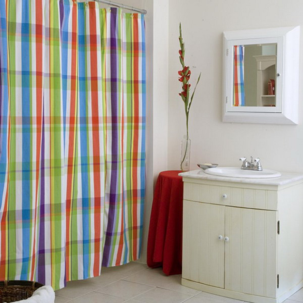 colorful bathroom shower curtains : ewdinteriors
