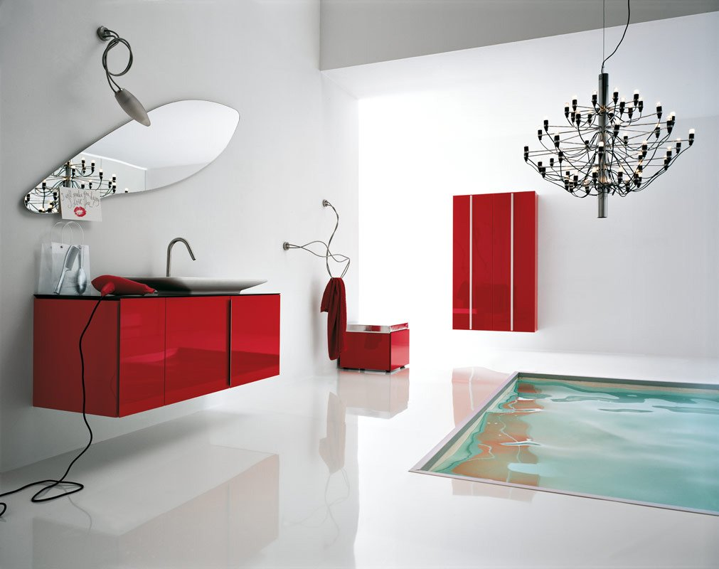 Elegant White and Red Italian Bathroom Design : EwdInteriors