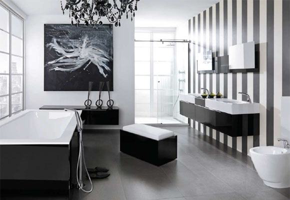 Great Photo Gallery Of The Black And White Modern Bathroom