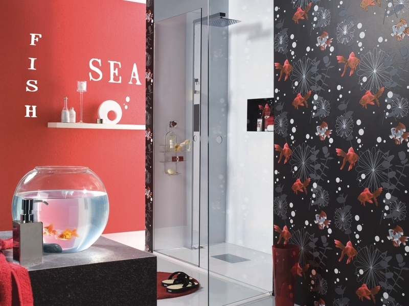 8 Ideal Designer Wallpaper For Bathrooms: RASCH FISH BLACK BATHROOM DESIGNER  FEATURE WALLPAPER