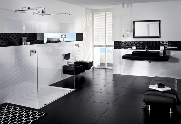 Photo Gallery Of The Black And White Modern Bathroom