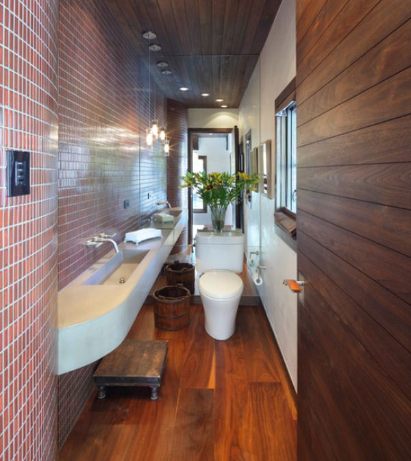 8 Pretty Narrow Bathroom Design: Long Narrow Bathroom