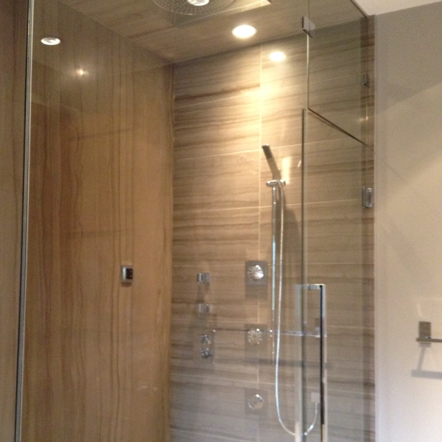 Kohlr fixtures in master shower : EwdInteriors