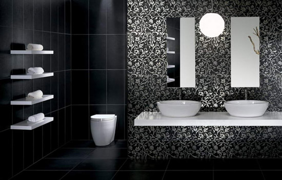 7 Cute Black And White Bathroom Tile Designs: Modern Bathroom Tiles In Black  And White Part 75