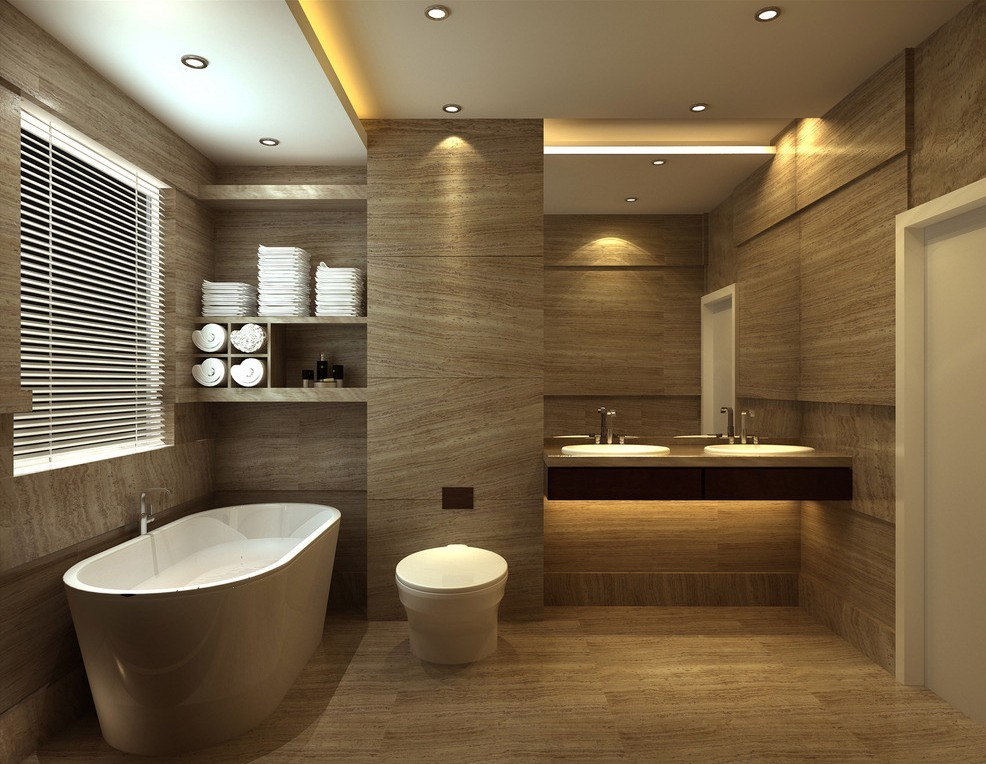 Elegant Bathroom Design Rendering Wood