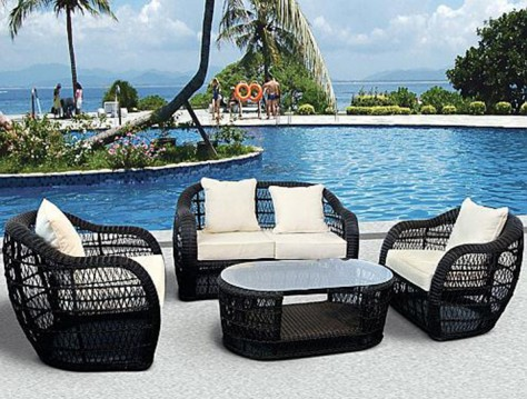 black mesh patio furniture