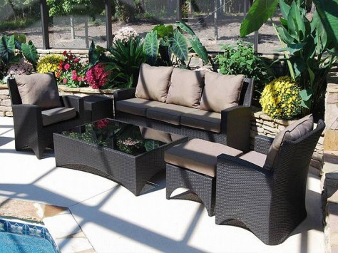 black wicker patio furniture