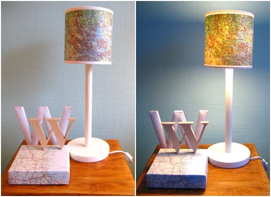 Charming 8 Creative Ways To Decorate With Maps: Lamp Map